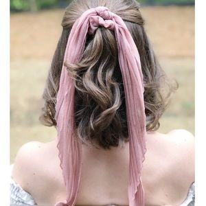 Pleated Ponytail Scrunchie, Taupe